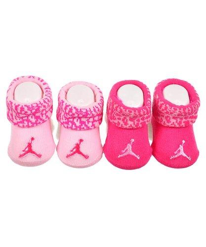 Jordan 0-6 Months Elephant Cuff 2 Pack Booties (0-6 Months, Pink)