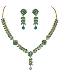 Gehna Handcrafted Emerald Color Stone Studded Necklace & Earring Set
