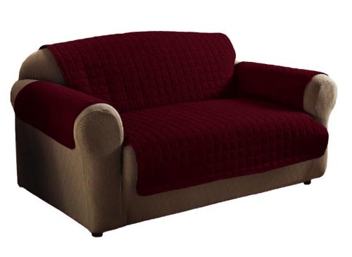 2Pc Burgundy Soft Micro Suede Couch Sofa And Loveseat Pet Furniture Slip Covers front-803484