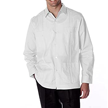 Men's Cotton blend guayabera long sleeve, color: white