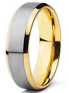 buy Engagement Rings For Men Titanium Gold Plated Wedding Fashion Jewelry Two-Tone Band (6.5Mm) (7)