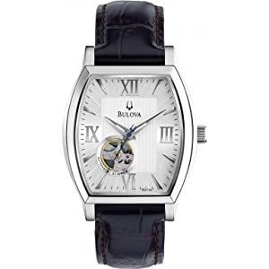 Bulova 96A144 Mens Silver Black Automatic Mechanical Watch