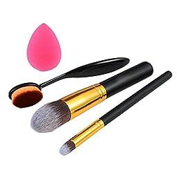 Elevin(TM) 4pcs pro Cosmetic Makeup Face Powder Blusher Toothbrush Curve Foundation Brush