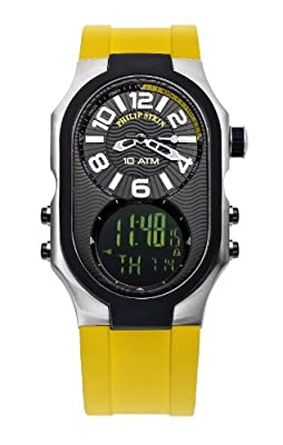 Philip Stein Men's 3RB-AD-RY Signature Black Plated Chronograph Yellow Rubber Strap Watch