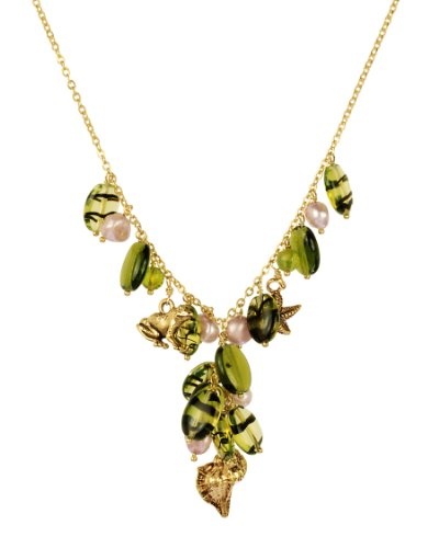 Vermeil Aquatic Charms and Champagne Pearl Y-Shape Green Necklace, 17