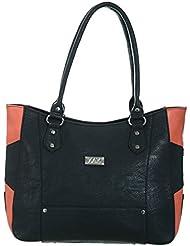 Zak Women PU Handbag (Black And Orange)
