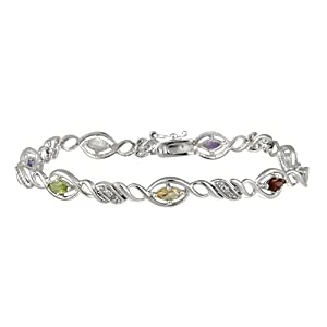 Sterling Silver Multi-Gemstone and Diamond Accent Link Bracelet, 7.25""