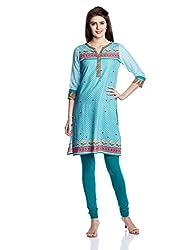 Juniper Women's Straight Kurta (30759_Turquoise and Sky Blue_Large)