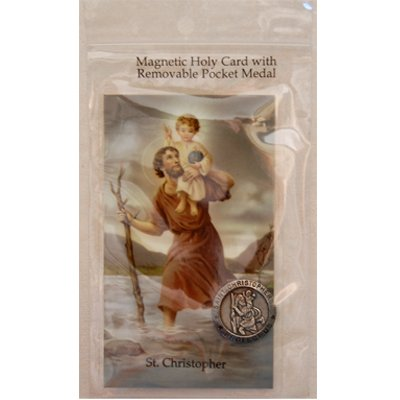 Magnetic St. Christopher Holy Card & Removable St. Christopher Pocket Medal