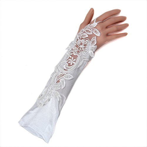 Aircee(TM) White Bridal Wedding Lace leaves Pattern Fingerless 14.5inch Long Gloves