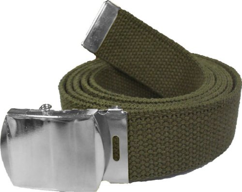 "100% Cotton Military 54"" Web Belt (Olive Belt w/ Chrome Buckle)"
