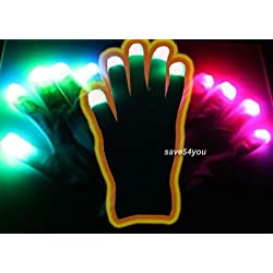 [Best price] Novelty & Gag Toys - Raver Blacked Out Gloves RGB LED 7 Colors Light Show Gloves - toys-games