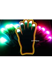 Raver Blacked Out Gloves RGB LED 7 Colors Light Show Gloves