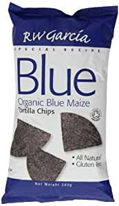 RW Garcia Blue Corn Tortilla Organic Chups 200 g (Pack of 3)