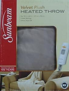 Sunbeam Velvet Plush Heated Throw Beige Cream