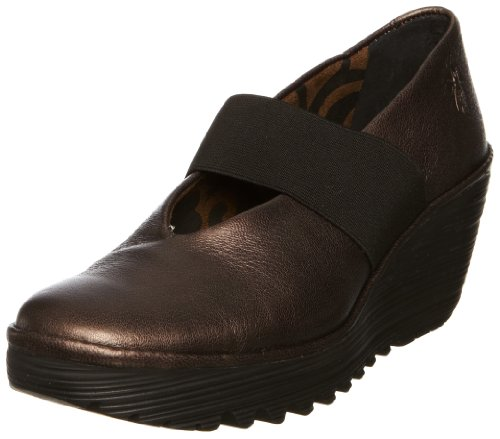 Fly London Women's Yale Leather Graphite Platforms Heels P500172028 5 UK