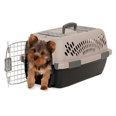 Petmate Pet Taxi Portable Kennel For Small Animals Up To 10 Pounds Easy To Assemble Great For Travel Airline Approved Container Vented Tan Dark Brown