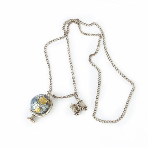 Vintage Terrestrial Globe Telescope Pendant Long Chain Necklace