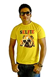 LetsFlaunt SELFIE Dog T-shirt Boys Yellow Dry-Fit-Medium Nw