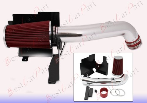 2001-2004 Chevrolet Silverado 2500Hd/3500 All Model With 6.6L V8 Diesel Turbo Lb7 Engine Heat Shield Cold Air Intake + Red Filter Hsich4R