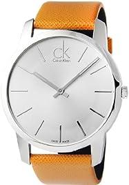 Calvin Klein Orange Leather Silver Dial Men's Watch - K2G21138