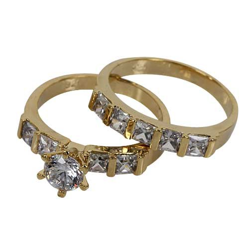 Round Cut Center Stone CZ Wedding Ring Set-Gold Filled CZ Wedding Rings set -Size 10 by gemgem Jewelry