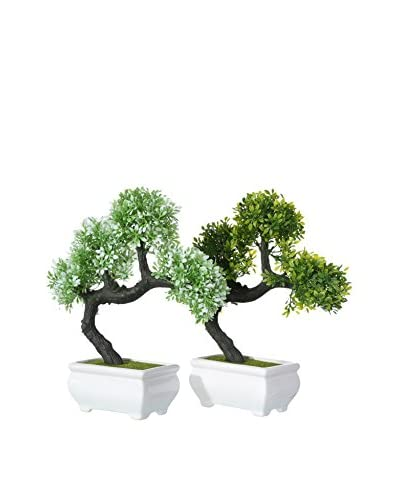Set Planta Artificial 2 Uds. Bonsai Verde