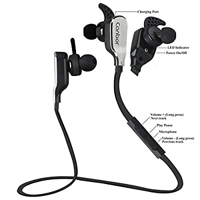 Bluetooth Headphones Wireless Earbuds Noise Cancelling Sport Earphones Canbor Stereo Sweatproof Lightweight In-Ear Headset for Apple iPhone Samsung Galaxy Note and Android Phones - Black