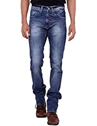 Kavis Mid Waist Dark Blue Colored Slim Fit Men's Jeans