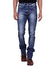 Kavis Mid Waist Dark Blue Colored Slim Fit Men's Jeans - B016WG0H6C