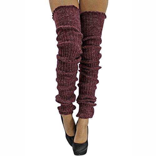Burgundy Slouchy Thigh High Knit Dance Leg Warmers