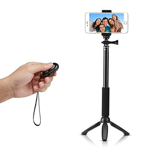 Ace3C Rhythm Pro Selfie Stick Monopod with Mini Tripod Stand + Bluetooth Remote Shutter for iOS & Android. - All-in-One Handheld Extension Pole for Smartphone, Digital Camera & POV camera. - Supports iPhone 6 (Plus) 5S 5C 5 4S 4 ipod, Samsung Galaxy S6 S5 S4 S3, Note 4 3 2, LG G3 G2, HTC One M8, Motorola Moto X G, Nexus 6 5, Sony Xperia and More - GoPro HD Hero 4 3+ 3 2 Hero, Sony Action Cam HDR AS15 AS30V AS100VR AS100V AZ1VR AZ1, SJ4000, - Canon Nikon Sony Panasonic Olympus Digital Camera and