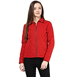 Quilted Women'S Jacket In Red Color With Front Zipper