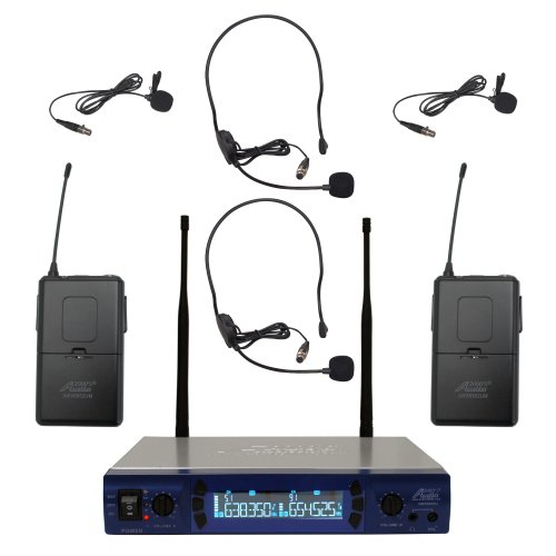 Audio2000'S 6952Umh Uhf 200 Frequency Portable Wireless Lavalier/Headset Microphone