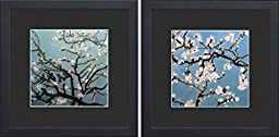 King Silk Art 100% Handmade Embroidery Almond Branches in Bloom - Van Gogh Chinese Wildlife Flower Painting Gifts Oriental Asian Wall Art Decoration Artwork Hanging Picture Gallery 36092BF+36132BF