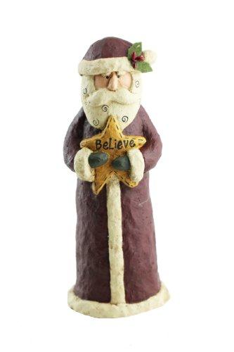 Craft Outlet Papier Mache Santa Believe Figurine, 11-Inch