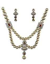 Anuradha Art Golden-Pink Kundan Jewellery Set For Women - B014HGI83I