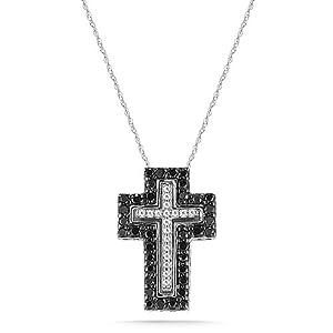 10k White Gold Black and White Diamond Cross Pendant Necklace (1/2 cttw, I-J Color, I2-I3 Clarity), 18