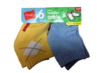 Hanes Toddler Boys Non-Skid Ankle Socks, Assorted, 6-12 months (6 Pairs)