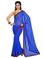 Designersareez Women Royal Blue Faux Georgette Saree With Unstitched Blouse (1621)