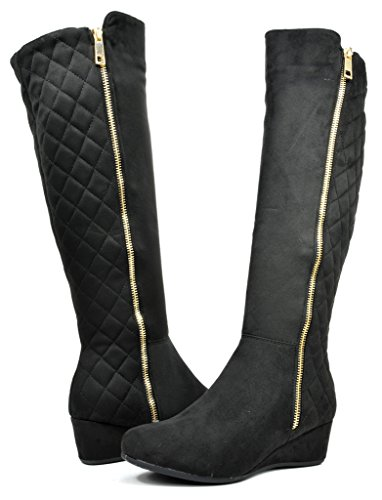DREAM PAIRS SLIMMER Women's Fashion Winter Fur Interior Side Zipper Quilted Panel Low Wedge Knee High Boots Black Size 7 (Boots Quilted Wedge compare prices)