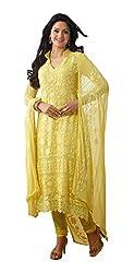 Fashion Bazaar Women's Georgette Unstitched Salwar Suit (Yellow)