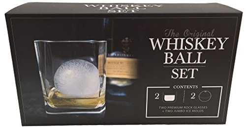 The Original Whiskey Ball DUO Gift Set (includes 2 round ice molds, 2 premium rock glasses)