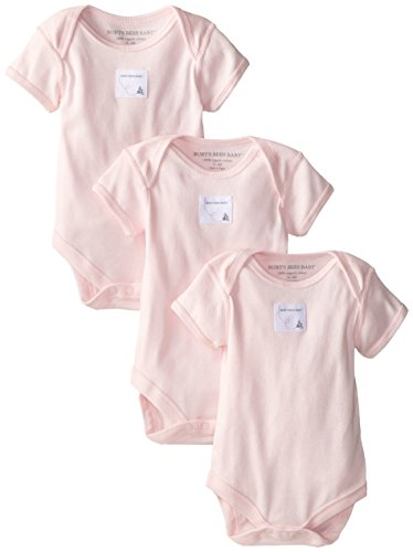Burt'S Bees Baby-Girls Newborn Set Of 3 Bee Essentials Solid Short Sleeve Bodysuits - Blossom, Blossom, 9 Months front-911688