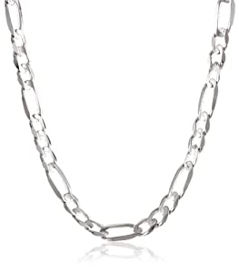 Men's 14k White Gold Figaro Chain Necklace, 26