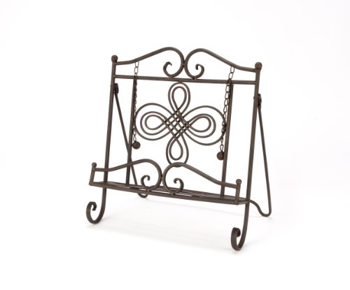 cookbook stand iron antique metal swirl design holder recipe kitchen rack ebay. Black Bedroom Furniture Sets. Home Design Ideas