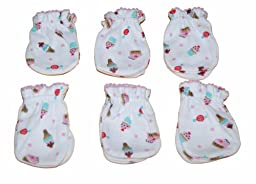 Ice Cream - 6 Pairs Cotton Baby/infant No Scratch Mittens Gloves