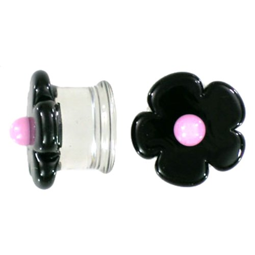 Black Cherry Blossom with Pink Center Handmade Glass Plugs - Double Flare - 1/2