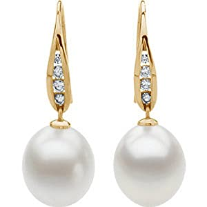 IceCarats Designer Jewelry 18 Yellow 1/3 Ctw Diamond And 12Mm South Sea Cultured Pearl Earrings