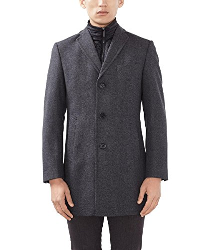 ESPRIT Collection Herren Mantel 106EO2G036, Grau (Anthracite 010), Medium (Herstellergröße: 48)